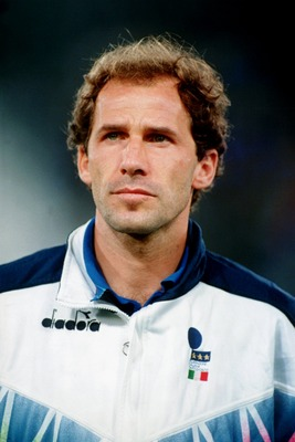 1993:  A HEAD-ON PORTRAIT PICTURE OF FRANCO BARESI OF THE NATIONAL SOCCER TEAM OF ITALY DURING A LINE-UP. Mandatory Credit: Mike Hewitt/ALLSPORT