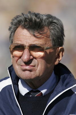 ANN ARBOR, MI - OCTOBER 15: (FILE PHOTO)  Head coach Joe Paterno of the Penn State Nittany Lions looks on against the Michigan Wolverines at Michigan Stadium on October 15, 2005 in Ann Arbor, Michigan.  Paterno was named the Associated Press college footb