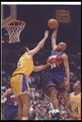 19 Dec 1992: Forward Charles Barkley of the Phoenix Suns goes up for two during a game against the Los Angeles Lakers at the Great Western Forum in Inglewood, California.