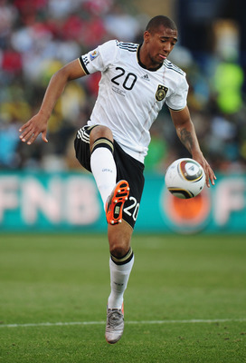 BLOEMFONTEIN, SOUTH AFRICA - JUNE 27: Jerome Boateng of Germany in action during the 2010 FIFA World Cup South Africa Round of Sixteen match between Germany and England at Free State Stadium on June 27, 2010 in Bloemfontein, South Africa.  (Photo by Clive