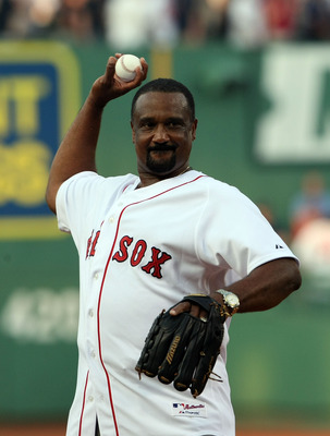 BOSTON - JULY 28:  Former Boston Red Sox outfielder Jim Rice throws out the ceremonial first pitch before the Red Sox game against the Oakland Athletics at Fenway Park July 28, 2009 in Boston, Massachusetts. Rice's number was retired in a pre-game ceremon