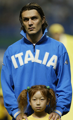 OITA - JUNE 13:  Portrait of Paolo Maldini of Italy before the FIFA World Cup Finals 2002 Group G match between Italy and Mexico played at the Oita Big Eye Stadium, in Oita, Japan on June 13, 2002. The match ended in a 1-1 draw. DIGITAL IMAGE. (Photo by D