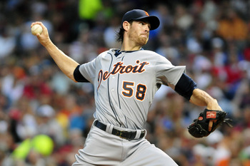 CLEVELAND, OH - AUGUST 9: Starting pitcher Doug Fister #58 of the Detroit Tigers pitches during the second inning against the Cleveland Indians at Progressive Field on August 9, 2011 in Cleveland, Ohio. (Photo by Jason Miller/Getty Images)