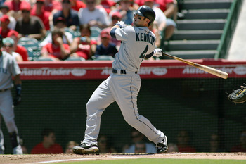 ANAHEIM, CA - JULY 10:  Adam Kennedy #4 of the Seattle Mariners bats against the Los Angeles Angels of Anaheim in the first inning of the game at Angel Stadium of Anaheim on July 10, 2011 in Anaheim, California  (Photo by Jeff Golden/Getty Images)