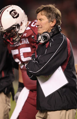 COLUMBIA, SC - NOVEMBER 06:  Head coach Steve Spurrier of the South Carolina Gamecocks during their game against the Arkansas Razorbacks at Williams-Brice Stadium on November 6, 2010 in Columbia, South Carolina.  (Photo by Streeter Lecka/Getty Images)