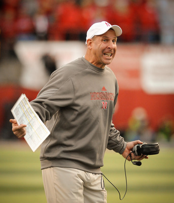 LINCOLN, NE - OCTOBER 30: Coach Bo Pelini of the Nebraska Cornhuskers asks for an explaination of a call during second half action of their game against the Missouri Tigers at Memorial Stadium on October 30, 2010 in Lincoln, Nebraska. Nebraska Defeated Mi