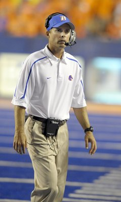 BOISE, ID - SEPTEMBER 3:  Head coach Chris Petersen of the Boise State Broncos paces the sidelines in the third quarter of the game against the Oregon Ducks on September 3, 2009 at Bronco Stadium in Boise, Idaho. Boise State won the game 19-8. (Photo by S