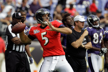 BALTIMORE, MD - AUGUST 06:  Quarterback Joe Flacco #5 of the Baltimore Raven  throws a pass during training camp at M&T Bank Stadium on August 6, 2011 in Baltimore, Maryland.  (Photo by Rob Carr/Getty Images)