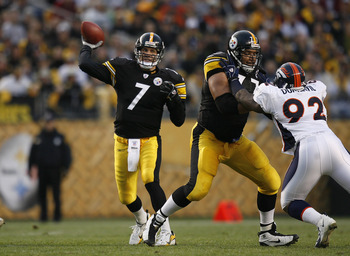 Quarterback Ben Roethlisberger of the Pittsburgh Steelers during a game against the Denver Broncos at Heinz Field in Pittsburgh, Pennsylvania on November 5, 2006. (Photo by Mike Ehrmann/Getty Images)