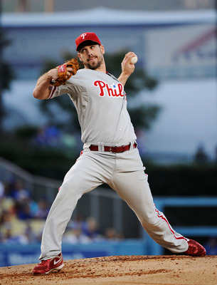 LOS ANGELES, CA - AUGUST 09:  Starting pitcher  Cliff Lee #33 of the Philadelphia Phillies throws against the Los Angeles Dodgers during the baseball game at Dodger Stadium on August 9, 2011 in Los Angeles, California.  (Photo by Kevork Djansezian/Getty I