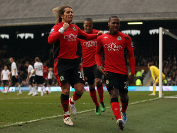 LONDON, ENGLAND - MARCH 05:  David Hoilett of Blackburn celebrates scoring their second goal during the Barclays Premier League match between Fulham and Blackburn Rovers at Craven Cottage on March 5, 2011 in London, England.  (Photo by Richard Heathcote/G