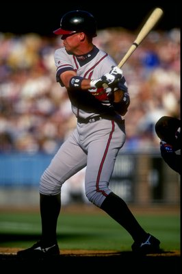 16 Aug 1998: Chipper Jones #10 of the Atlanta Braves swings during a game against the Los Angeles Dodgers at Dodger Stadium in Los Angeles, California.The Dodgers defeated the Braves 1-0. Mandatory Credit: Tom Hauck  /Allsport