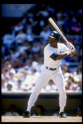 1990:  Mel Hall of the New York Yankees in action during a game at Yankee Stadium in Bronx, New York.  Mandatory Credit: Scott Halleran  /Allsport
