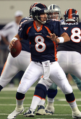 ARLINGTON, TX - AUGUST 11:  Kyle Orton #8 of the Denver Broncos throws against the Dallas Cowboys at Cowboys Stadium on August 11, 2011 in Arlington, Texas.  (Photo by Ronald Martinez/Getty Images)