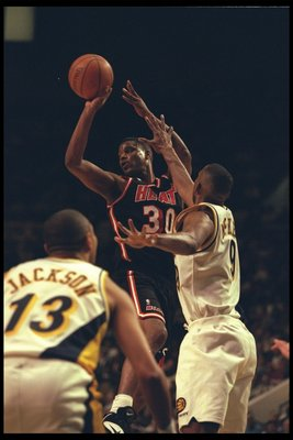 28 Dec 1995:  Billy Owens of the Miami Heat goes up for a shot against the Indiana Pacers during a game played at the Market Square Arena in Indianapolis, Indiana.  The Pacers won the game, 91-77. Mandatory Credit: ALLSPORT USA/Allsport