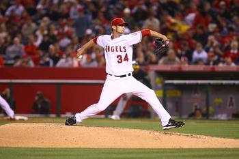 ANAHEIM, CA - APRIL 08:  Nick Adenhart #34 of the Los Angeles Angels of Anaheim throws a pitch against the Oakland Athletics at Angel Stadium on April 8, 2009 in Anaheim, California. The Athletics defeated the Angels 6-4.  (Photo by Jeff Gross/Getty Image