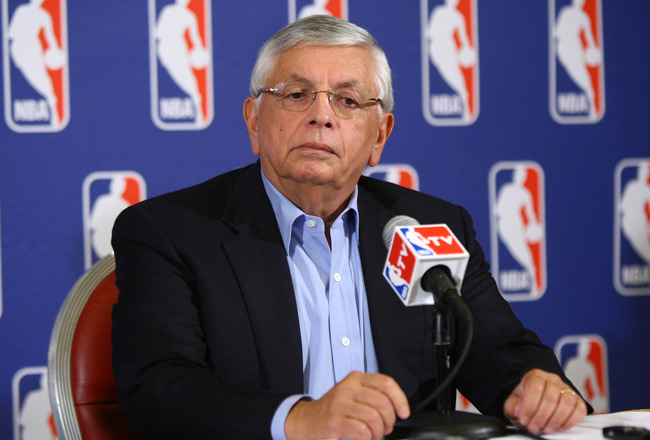 NEW YORK, NY - JUNE 30:  Commissioner of the NBA, David Stern announces that a lockout will go ahead as NBA labor negotiations break down at Omni Hotel on June 30, 2011 in New York City. The NBA has locked out the players after they were unable to reach a