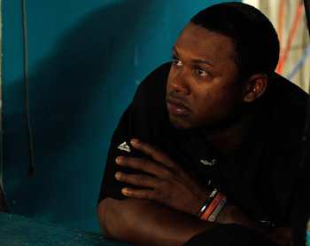 MIAMI GARDENS, FL - AUGUST 04:  Hanley Ramirez #2 of the Florida Marlins looks on during a game against the St. Louis Cardinals at Sun Life Stadium on August 4, 2011 in Miami Gardens, Florida.  (Photo by Mike Ehrmann/Getty Images)