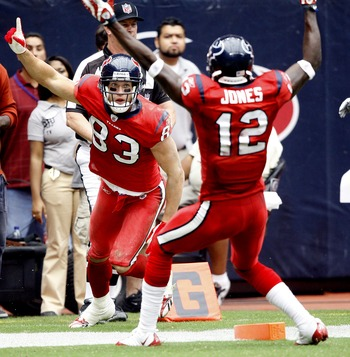 HOUSTON - SEPTEMBER 27:  Wide receiver Kevin Walter #83 of the Houston Texans celebrates with Jacoby Jones #12 after his touchdown catch in the second quarter against the Jacksonville Jaguars at Reliant Stadium on September 27, 2009 in Houston, Texas.  (P