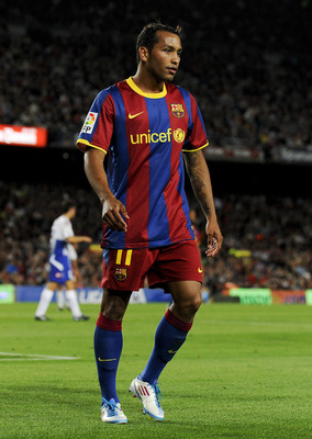BARCELONA, SPAIN - MAY 15:  Jeffren of FC Barcelona looks on during the La Liga match between Barcelona and Deportivo La Coruna at Camp Nou Stadium on May 15, 2011 in Barcelona, Spain.  (Photo by David Ramos/Getty Images)