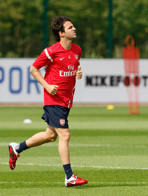 ST ALBANS, ENGLAND - AUGUST 05: Cesc Fabregas of Arsenal during a training session at London Colney on August 5, 2011 in St Albans, England. (Photo by Tom Dulat/Getty Images)