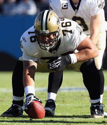 CHARLOTTE, NC - NOVEMBER 07:  Jonathan Goodwin #76 and Drew Brees #9 of the New Orleans Saints against the Carolina Panthers during their game at Bank of America Stadium on November 7, 2010 in Charlotte, North Carolina.  (Photo by Streeter Lecka/Getty Ima
