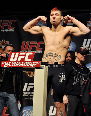 NEWARK, NJ - MARCH 26:  UFC fighter Dan Hardy (pictured) weighs in for his fight against UFC fighter Georges St-Pierre for their Championship Welterweight fight at UFC 111: St-Pierre vs. Hardy Weigh-In on March 26, 2010 in Newark, New Jersey.  (Photo by J