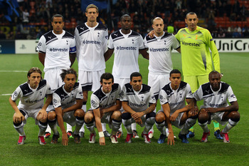 MILAN, ITALY - OCTOBER 20:  The Tottenham Hotspur team pose prior to the UEFA Champions League Group A match between FC Internazionale Milano and Tottenham Hotspur at the Stadio Giuseppe Meazza on October 20, 2010 in Milan, Italy.  (Photo by Clive Rose/Ge
