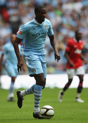 LONDON, ENGLAND - AUGUST 07:  Yaya Toure of Manchester City in action during the FA Community Shield match sponsored by McDonald's between Manchester City and Manchester United at Wembley Stadium on August 7, 2011 in London, England.  (Photo by Michael St