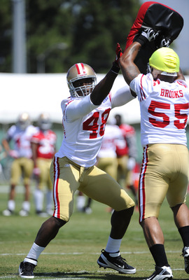 SANTA CLARA, CA - JULY 30: Aldon Smith #48 and Ahmad Brooks #55 of the San Francisco 49ers participate in drills during practice at the San Francisco 49ers training facility on July 30, 2011 in Santa Clara, California. (Photo by Thearon W. Henderson/Getty