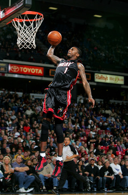 SACRAMENTO, CA - DECEMBER 06:  Dorell Wright #1 of the Miami Heat goes up to dunk the ball during their game against the Sacramento Kings at ARCO Arena on December 6, 2009 in Sacramento, California.  NOTE TO USER: User expressly acknowledges and agrees th