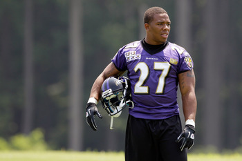 OWINGS MILLS, MD - JULY 29:  Running back Ray Rice #27 of the Baltimore Ravens walks onto the field during training camp on July 29, 2011 in Owings Mills, Maryland.  (Photo by Rob Carr/Getty Images)