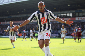 WEST BROMWICH, ENGLAND - APRIL 30:  Peter Odemwingie of West Brom celebrates scoring his sides equalising goal during the Barclays Premier League match between West Bromwich Albion and Aston Villa at The Hawthorns on April 30, 2011 in West Bromwich, Engla