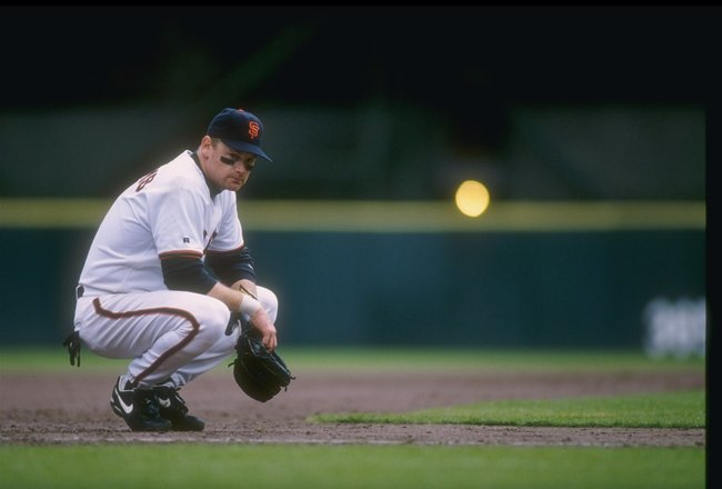 21 May 1996: Third baseman Matt Williams of the San Francisco Giants squats at third base in between batters during the Giants 8-5 victory over the Montreal Expos at 3Com park in San Francisco, California.