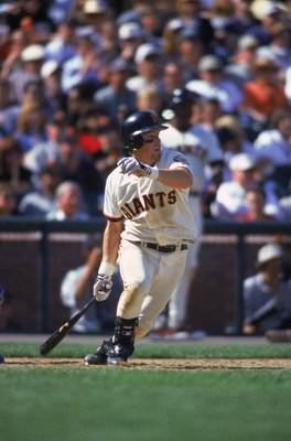 12 Apr 2000:  Bill Mueller #32 of the San Francisco Giants watches the ball as he starts to run to first base during the game against the Los Angeles Dodgers at Pac Bell Park in San Francisco, California. The Dodgers defeated the Giants 6-5. Mandatory Cre