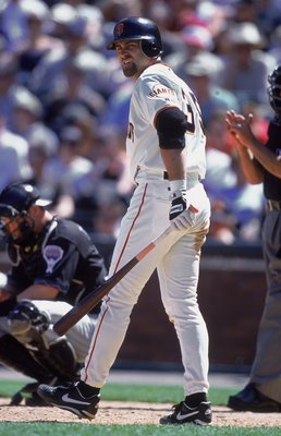 28 May 2001:  Rich Aurelia #35 of the San Francisco Giants walks up to the plate during the game against the Arizona Diamondbacks at Pac Bell Park in San Francisco, California. Diamondbacks defeated the Giants 2-1.Mandatory Credit: Tom Hauck  /Allsport