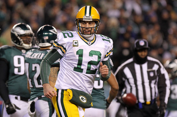 PHILADELPHIA, PA - JANUARY 09:  Aaron Rodgers #12 of the Green Bay Packers reacts against the Philadelphia Eagles during the 2011 NFC wild card playoff game at Lincoln Financial Field on January 9, 2011 in Philadelphia, Pennsylvania.  (Photo by Nick Laham