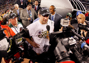 ARLINGTON, TX - FEBRUARY 06:  Super Bowl MVP Aaron Rodgers #12 of the Green Bay Packers is interviewed by the media after the Packers won Super Bowl XLV 31-25 against the Pittsburgh Steelers at Cowboys Stadium on February 6, 2011 in Arlington, Texas.  (Ph