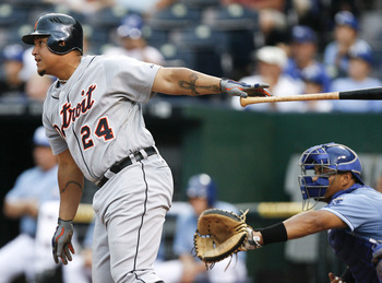 KANSAS CITY, MO - AUGUST 07: Miguel Cabrera #24 of the Detroit Tigers hits a RBI double in the sixth inning against the Kansas City Royals at Kauffman Stadium on August 7, 2011 in Kansas City, Missouri.  Austin Jackson scored on the double.  (Photo by Ed