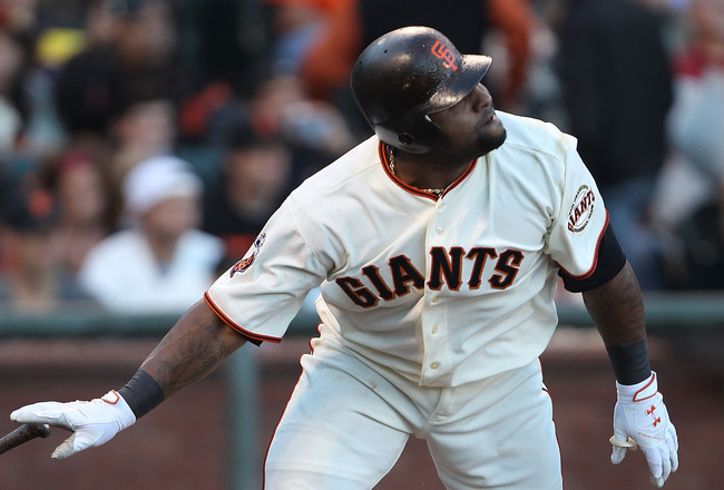 SAN FRANCISCO, CA - JULY 19:  Pablo Sandoval #48 of the San Francisco Giants singles in the first inning against the Los Angeles Dodgers at AT&T Park on July 19, 2011 in San Francisco, California.  (Photo by Jed Jacobsohn/Getty Images)