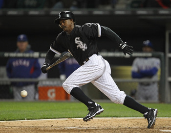 CHICAGO, IL - MAY 16: Juan Pierre #1 of the Chicago White Sox runs after a bunt against the Texas Rangers at U.S. Cellular Field on May 16, 2011 in Chicago, Illinois. The Rangers defeated the White Sox 4-0. (Photo by Jonathan Daniel/Getty Images)