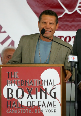 CANASTOTA, NY - JUNE 12:  Julio Cesar Chavez gives his induction speech during the 2011 International Boxing Hall of Fame Inductions at the International Boxing Hall of Fame on June 12, 2011 in Canastota, New York. Chavez is a 2011 inductee.  (Photo by Ri