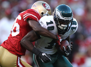 SAN FRANCISCO - OCTOBER 10:  Jeremy Maclin #18 of the Philadelphia Eagles runs after a catch against Shawntae Spencer #36 of the San Francisco 49ers during an NFL game at Candlestick Park on October 10, 2010 in San Francisco, California.  (Photo by Jed Ja