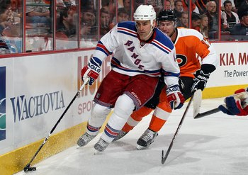 PHILADELPHIA - APRIL 11:  Wade Redden #6 of the New York Rangers skates against the Philadelphia Flyers on April 11, 2010 at Wachovia Center in Philadelphia, Pennsylvania. The Flyers defeated the Rangers 2-1 after a shootout. The victory clinched a playof