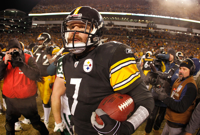 PITTSBURGH, PA - JANUARY 23:  Ben Roethlisberger #7 of the Pittsburgh Steelers celebrates after the Steelers defeated the New York Jets 24 to 19 during the 2011 AFC Championship game at Heinz Field on January 23, 2011 in Pittsburgh, Pennsylvania.  (Photo