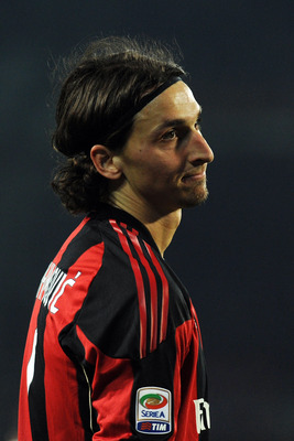 TURIN, ITALY - MARCH 05:  Zlatan Ibrahimovic of AC Milan reacts during the Serie A match between Juventus FC and AC Milan at Olimpico Stadium on March 5, 2011 in Turin, Italy.  (Photo by Valerio Pennicino/Getty Images)