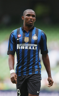DUBLIN, IRELAND - JULY 30:  Samuel Eto'o of Inter Milan looks on during the Dublin Super Cup match between Celtic and Inter Milan at the Aviva Stadium on July 30, 2011 in Dublin, Ireland.  (Photo by David Rogers/Getty Images)