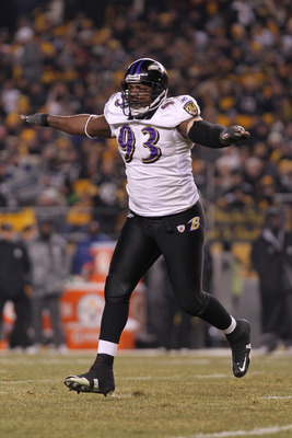 PITTSBURGH, PA - JANUARY 15:  Defensive end Cory Redding #93 of the Baltimore Ravens reacts after a play against the Pittsburgh Steelers during the AFC Divisional Playoff Game at Heinz Field on January 15, 2011 in Pittsburgh, Pennsylvania.  (Photo by Nick