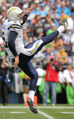 SEATTLE - SEPTEMBER 26:  Punter Mike Scifres #5 of the San Diego Chargers punts against the Seattle Seahawks at Qwest Field on September 26, 2010 in Seattle, Washington. (Photo by Otto Greule Jr/Getty Images)