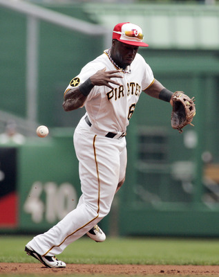 PITTSBURGH, PA - JULY 04:  Josh Harrison #62 of the Pittsburgh Pirates makes a error while fielding a ground ball during a game against the Houston Astros on July 4, 2011 at PNC Park in Pittsburgh, Pennsylvania.  (Photo by Justin K. Aller/Getty Images)